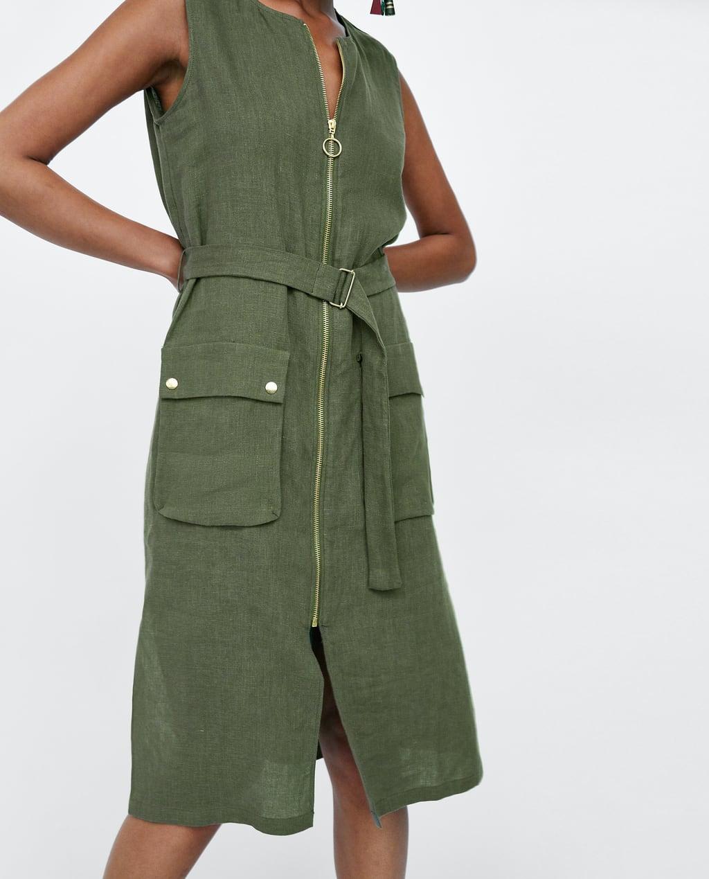 5e0193e6 Zara Linen Dress With Pockets